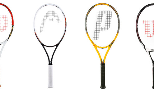 Four Different Tennis Racquets With Different Head Size and Length