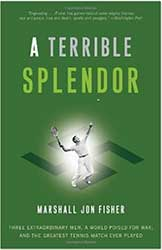 Book Cover - A green cover with a glowing tennis player serving in the middle