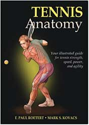 Book Cover - A graphic of a tennis player hitting a one handed backhand showing their muscular system