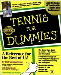 "Book Cover - A hand holding up a sign that says ""Tennis for Dummies"""