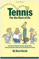 Book Cover - A dull yellow with graphics of four average looking tennis players