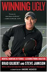 Book Cover - Brad Gilbert posing with a tennis racquet and court in the background
