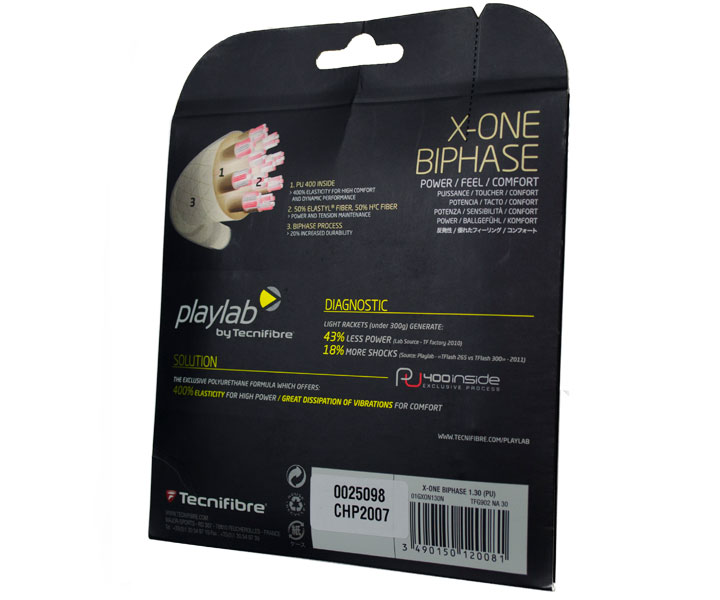 A photograph of the back of Tecnifibre X-One Biphase Package.