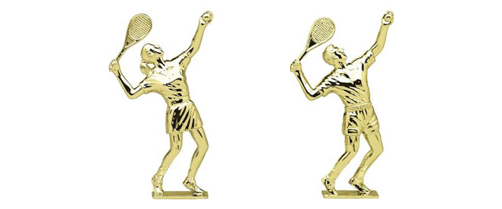 Male and Female Tennis Trophies